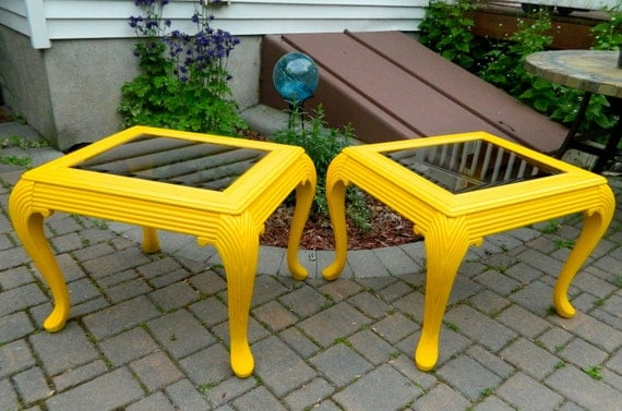 Set of Vintage Yellow Side Tables