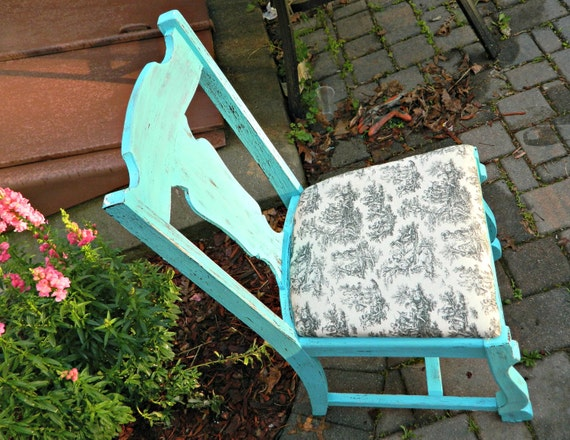 Shabby Cottage Chic Turquoise Distressed Dining Chair