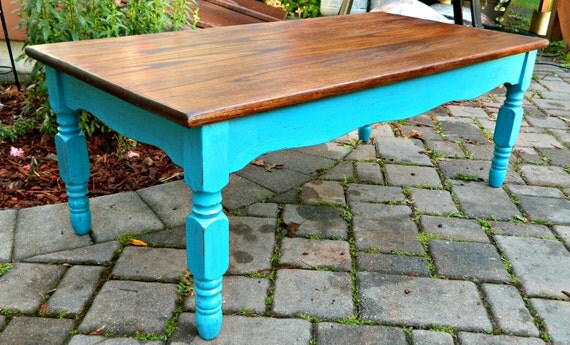 RESERVED FOR COURTNEY Rustic Vintage Oak Coffee Table with Turquoise Shabby Chic Base