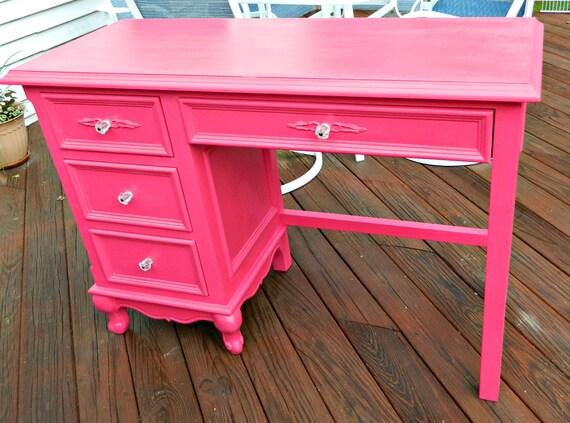 RESERVED for Megan M. Pink Vintage Desk with Glass Drawer Pulls