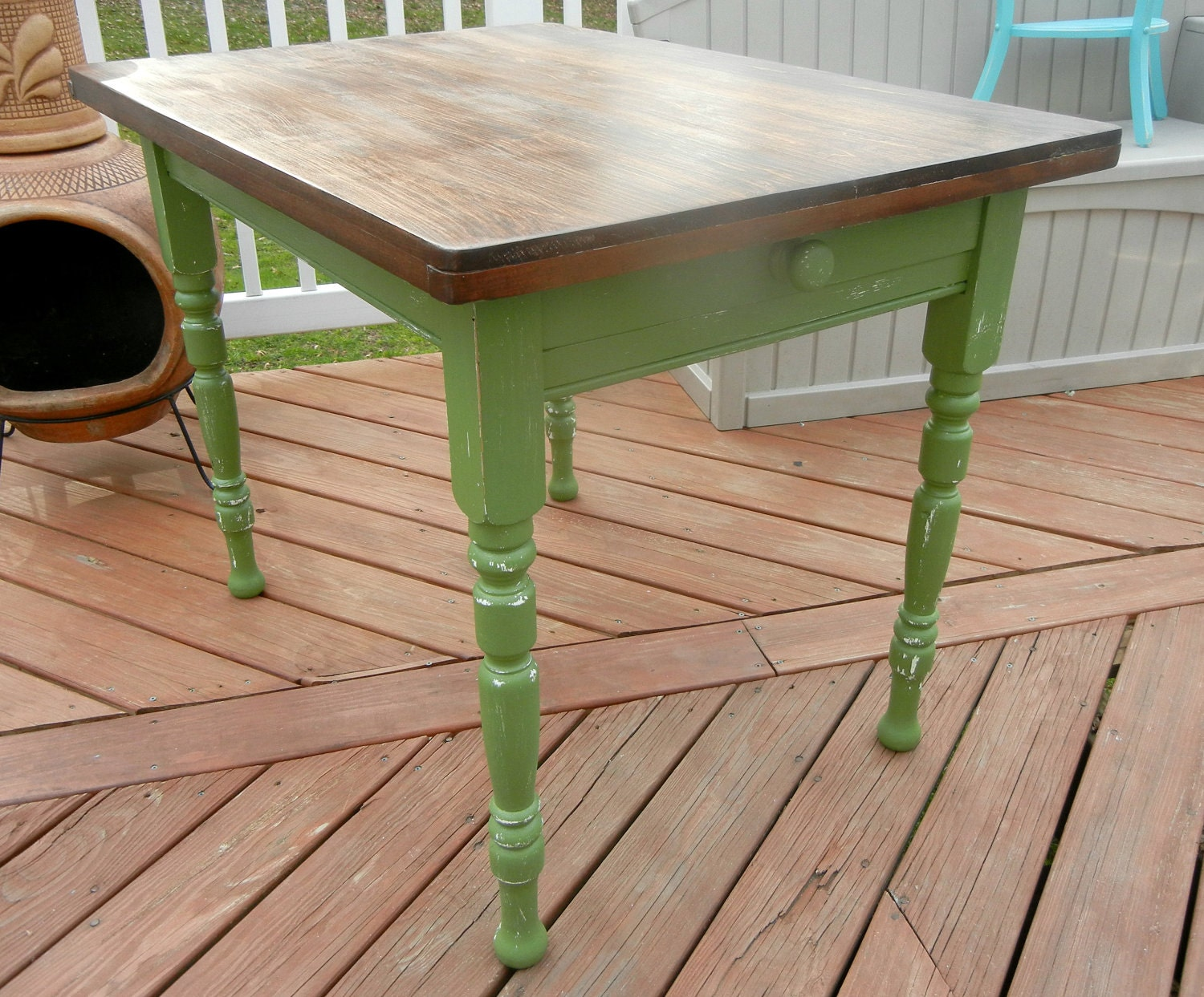 small green farmhouse kitchen table by vntgchrmshabbychic
