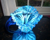 BLUE OPALESCANT VASE Ruffled Edge Pitcher With Handle 9in. Tall