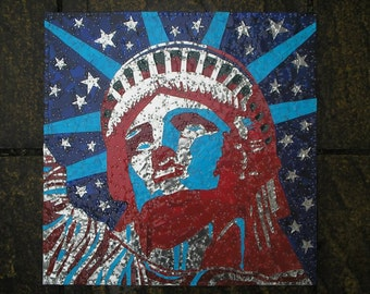Statue of Liberty Recycled Tin Art