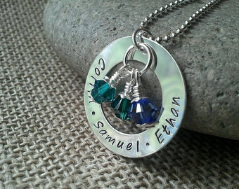 Hand Stamped Washer Mom Necklace - Personalized Mom Necklace - Family Necklace - Sterling Silver, Crystal Birthstones by Stamped Evermore