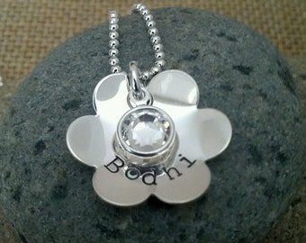 Name Necklace - Flower Girl Gift - Hand Stamped with Swarovski Crystal Charm