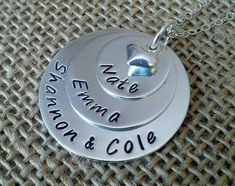 Custom Mom Necklace, Grandmother Necklace, Personalized Family Necklace, 3 Sterling Silver Discs and Puffy Heart Charm