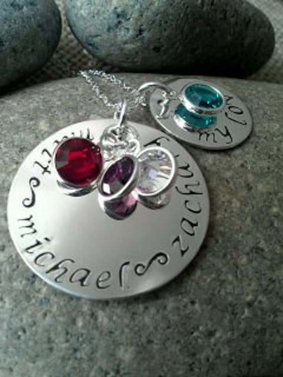 Personalized Hand Stamped Silver Family/Mom Charm Necklace, Hand Stamped Jewelry Stamped Evermore