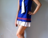Paddle and Saddle 60s Mod sailor top/ tennis shirt. Red, white and blue nautical/ navy theme, small