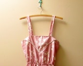 Vintage 1980's Marjorie Hamilton Dusty Rose Floral Spring Dress, Size Small/ Medium