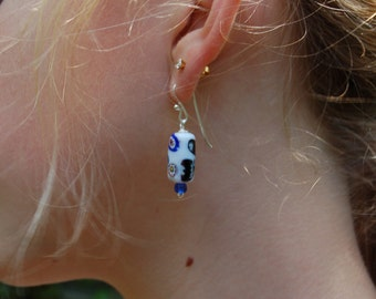 Handcrafted sterling earrings with Vintage Venetian Murano  Millefiori Blue  white glass beads and handmade sterling earwires by Reneux