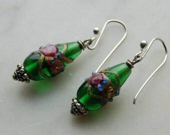 sterling earrings with Vintage green lampwork glass beads-1960's-handmade sterling earwires-Pantone color 2017 Greenery