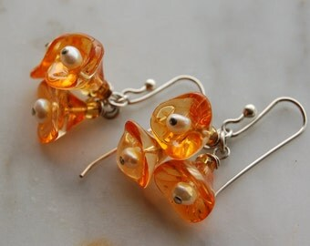 Sterling silver earrings with  Czech Tangerine Gold glass bellflower and freshwater pearls- handmade sterling silver earwires by Reneux