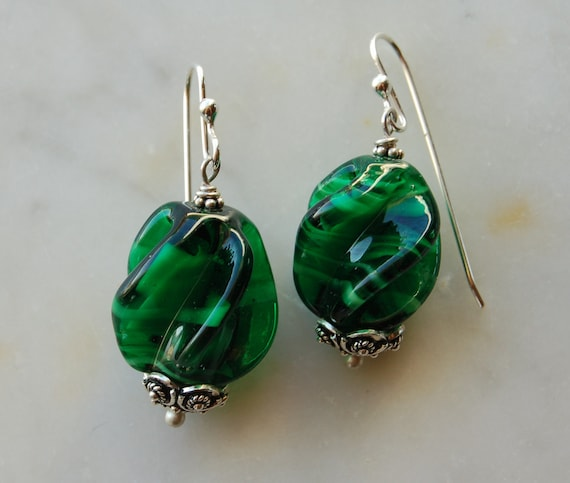 Vintage Glass Malachite earrings with handmade sterling silver earwire by Reneux