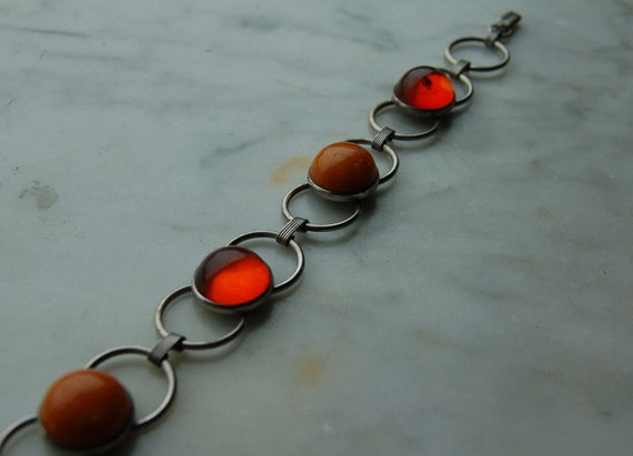 "Vintage sterling link bracelet with amber. 1970s. 7 1/2 "" long.Mod, Carnaby Street."