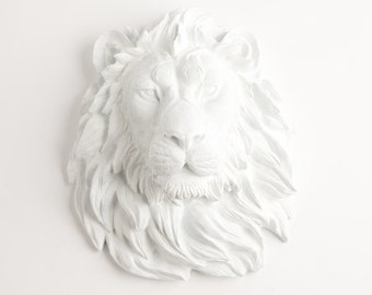 Faux Taxidermied Lion  Head, The Walter, White Resin Lion Head Wall Sculpture, Chic African Animal Head Wall Hanging by White Faux Taxidermy
