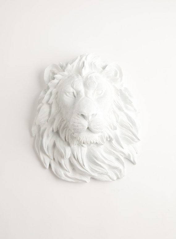 Faux Taxidermied - The Walter - White Resin Lion Head- Resin White Faux Taxidermy- Chic & Trendy