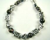 Beaded Black And Silver Bracelet