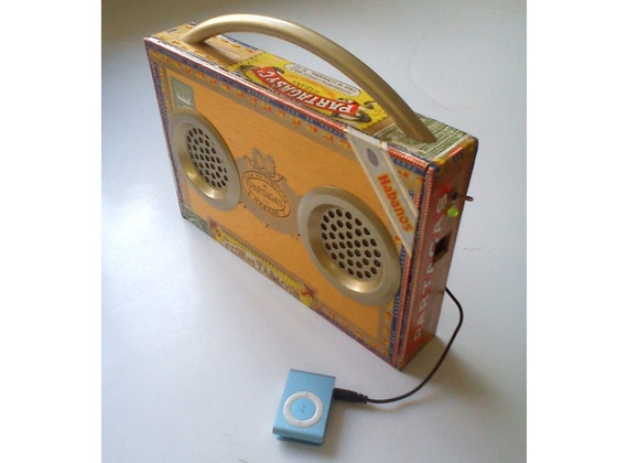 Portable Rechargeable Speaker System - For iPhone, MP3, etc. USB-Rechargeable Cigar Box
