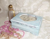 Aqua Heart Jewelry Box - Hand Painted, Vintage, Distressed, Shabby, Cottage, Wooden, Paris Apartment, French Country, Upcycled