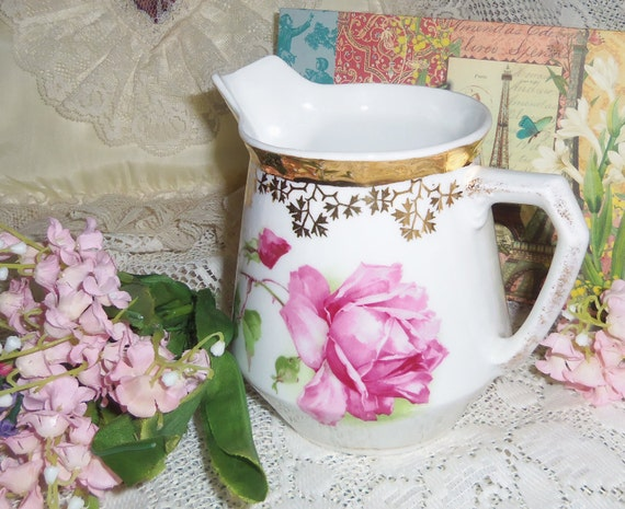 Vintage Rose  Pitcher - HOLDING FOR SAUNDRA 6/30/12 -Traditional, Cottage Chic, French Country, Paris Apartment, French Shabby, Romantic
