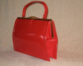 VINTAGE 1960's PARISTYLE Red Patent Leather Purse