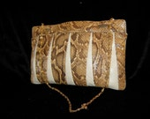 Vintage Snake skin and Leather Clutch with Strap 1980's By Supreme