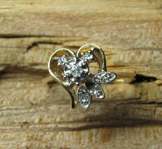 HELD for J - Heart of Gold : Euro Cut Diamond and Yellow Gold Vintage Engagement Ring - 1960s Illusion Head