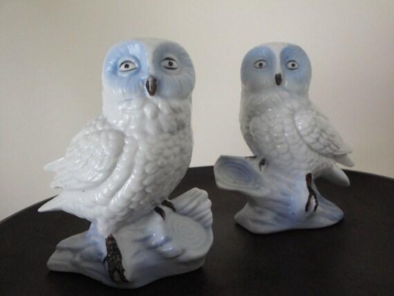 Vintage White Owl Pair Figurines Ceramic Snow Owl By Lemondae