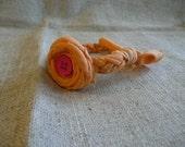 orange and pink t-shirt bracelet w/ flower