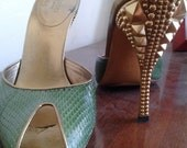 Green Snakeskin/ Gold Tom Ford for Gucci Pyramid Stud Slip-On Heels SZ 8.5