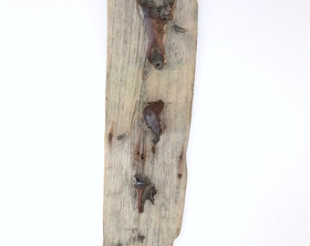 Weathered Black Cherry on Weathered Pine Wall Hanging