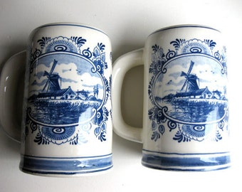 3 Delft Blue Beer Stein Mugs and Matching Ashtray by Troost. Vintage collectable