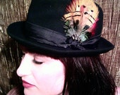 Black Wool Fedora/Bright Feathers/Satin Trim