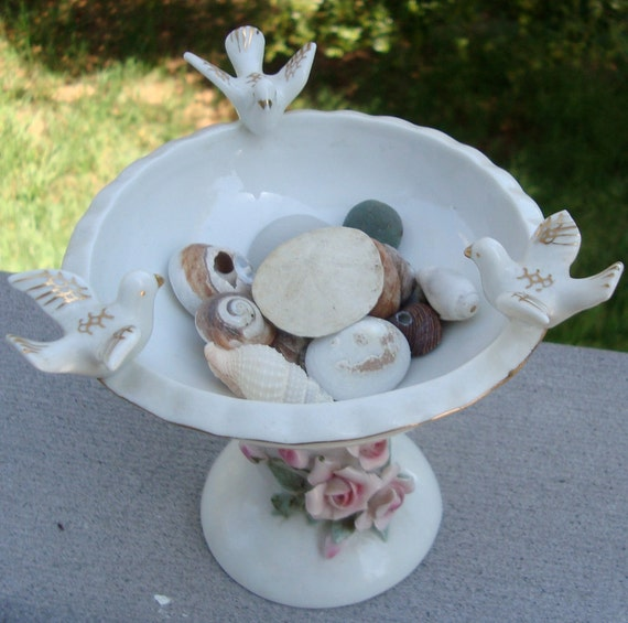 RESERVE for Katherine--Mid century Lefton China bird bath figurine, hand painted with pink roses and three white and gold birds