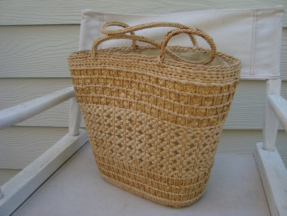 Mid century woven straw and jute tote bag with plastic lining, made in the People's Republic of China