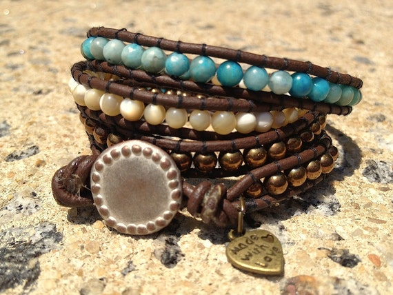 Turquoise Accented Leather Wrap Bracelet
