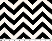 Zig Zag Cotton Fabric - Drapery Fabric - Heavy Cotton Fabrics - Black and White Chevron - Fabric by the Yard