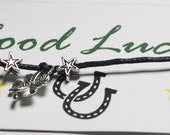 Good Luck bracelet with Four Leaf Clover on waxed cotton cord