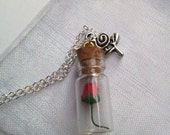 Beauty and the Beast themed message in a bottle necklace