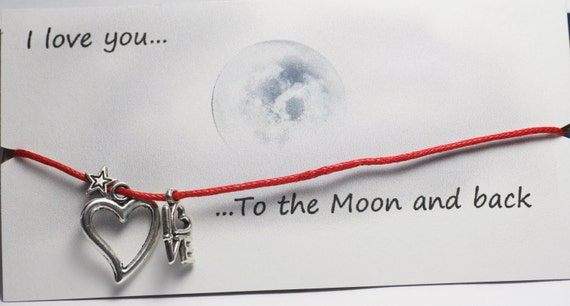 LOVE you to the Moon and back bracelet on waxed cotton cord