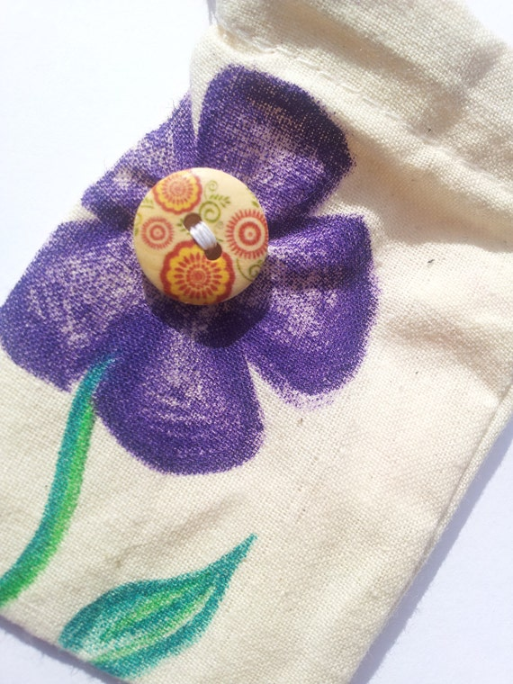 Flower Button Cotton Gift bag 6cm x 9cm