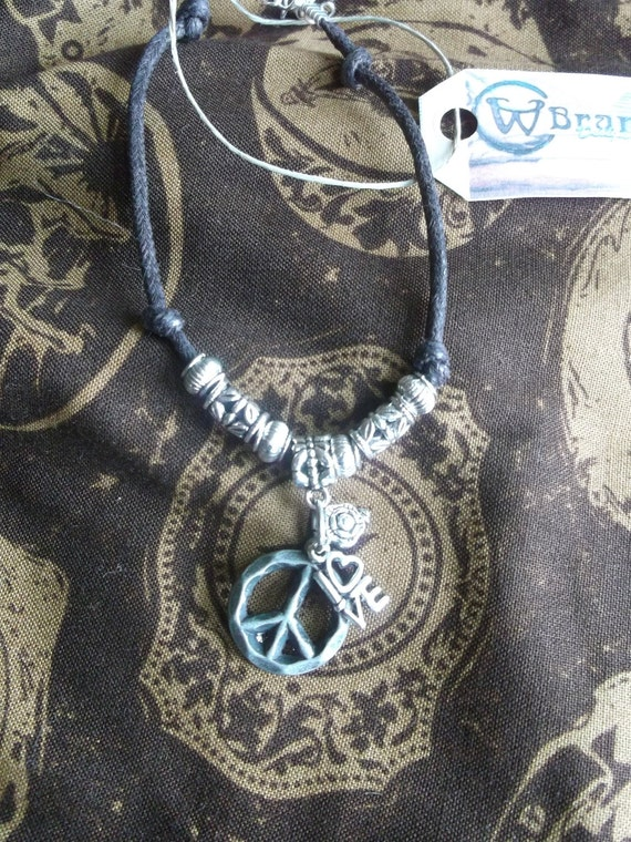 Peace charm anklet