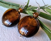 Amber Foil Glass Earrings
