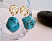 Genuine Turquoise Nugget and 14k Matte Gold Earrings, Summer Fashion, Summer Essentials, Natural Stone Jewelry, Wedding Gift, Gift for Her