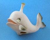 Vintage - small porcelain whale figurine