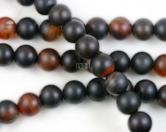 Lot of 10 Strands 10mm Matte Carnelian Agate Beads Round 15.5""