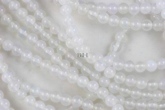 Lot of 10 Strands 6mm White Agate Beads Round 15.5""