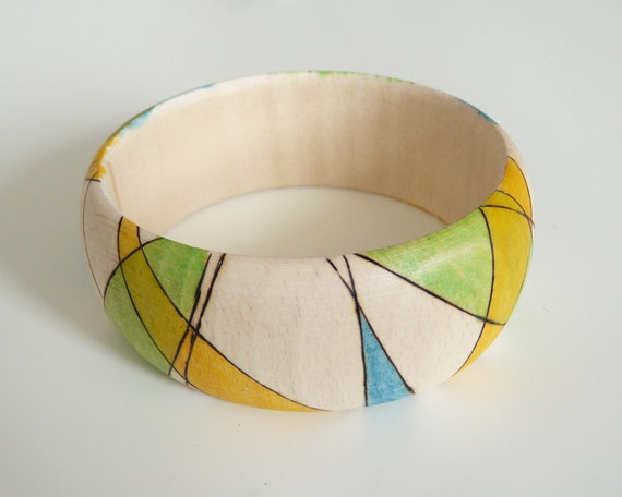 Multicolor pyrography geometric bangle - LINES