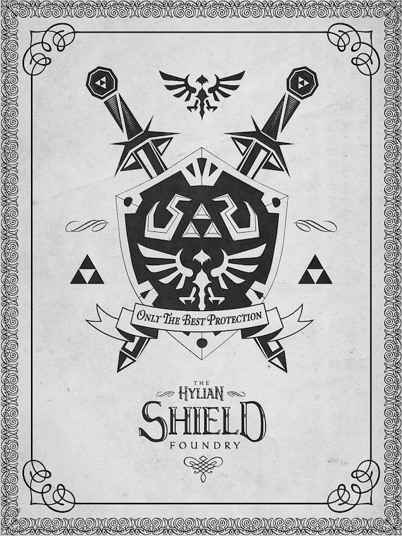 Legend of Zelda Letterpressed Hylian Shield Logo Print