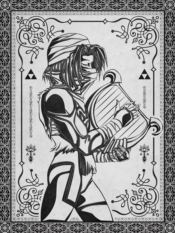 The Line Art : Legend of zelda shiek princess line art signed